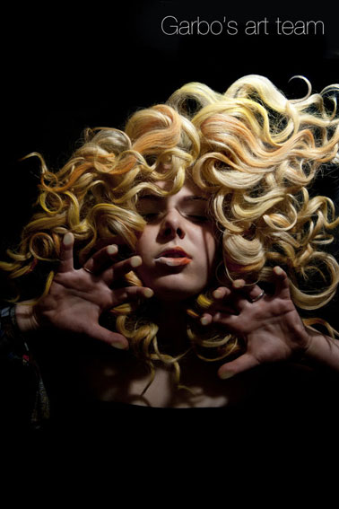 Garbos hair Art team image of blonde curls