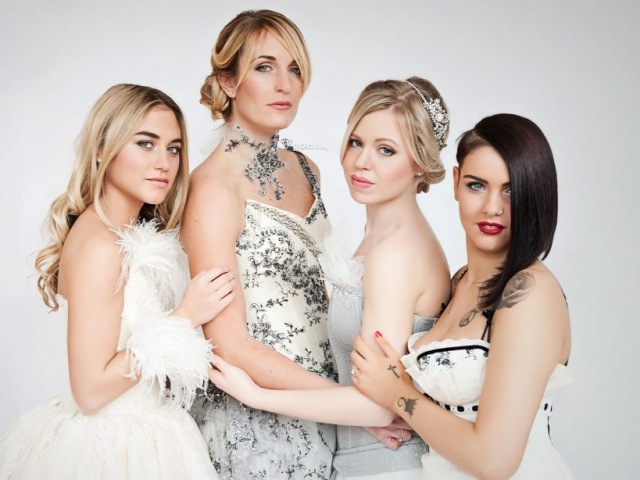 A image of a bride and bridesmaids